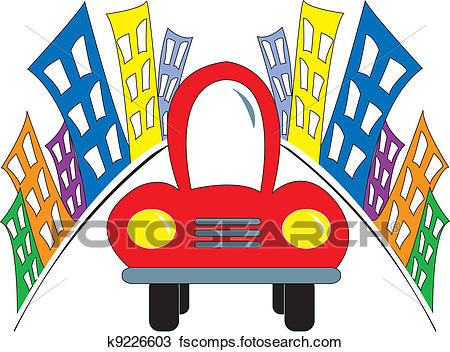 450x352 Clipart Of Red Car Leaving Colorful City K9226603