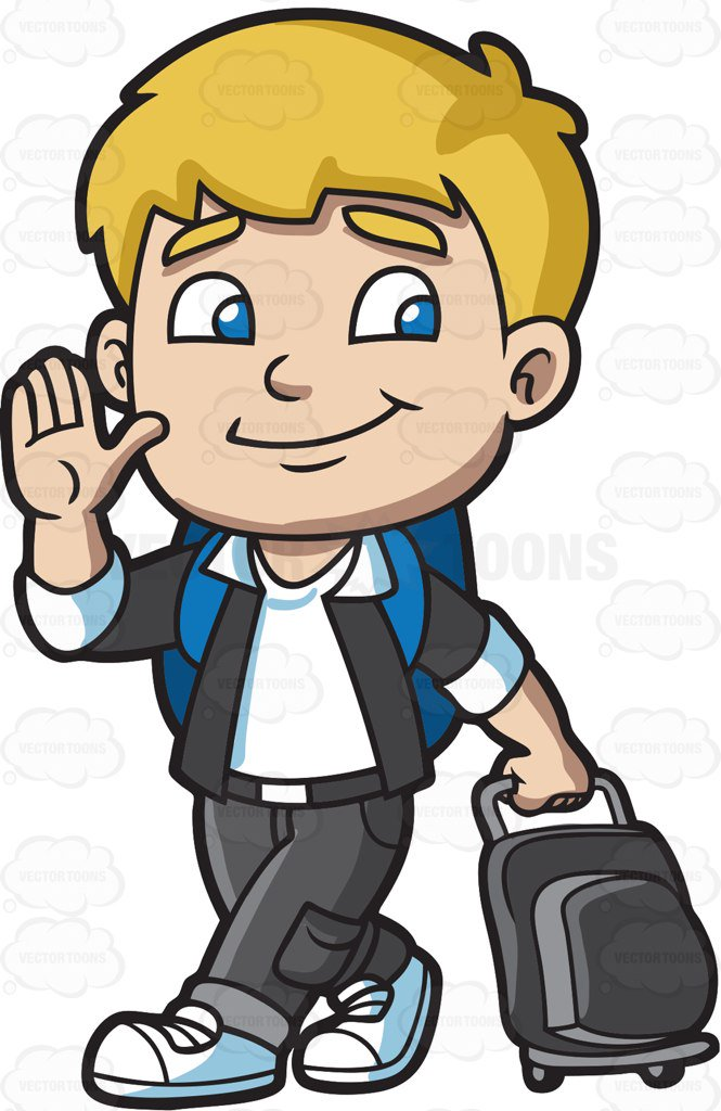 665x1024 A Boy Leaving For The Airport Cartoon Clipart