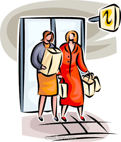 409x480 Women Leaving The Store Royalty Free Vector Clip Art Illustration