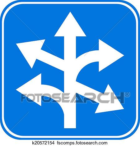 450x470 Clipart Of Road Sign Straight, Left And Right K20572154