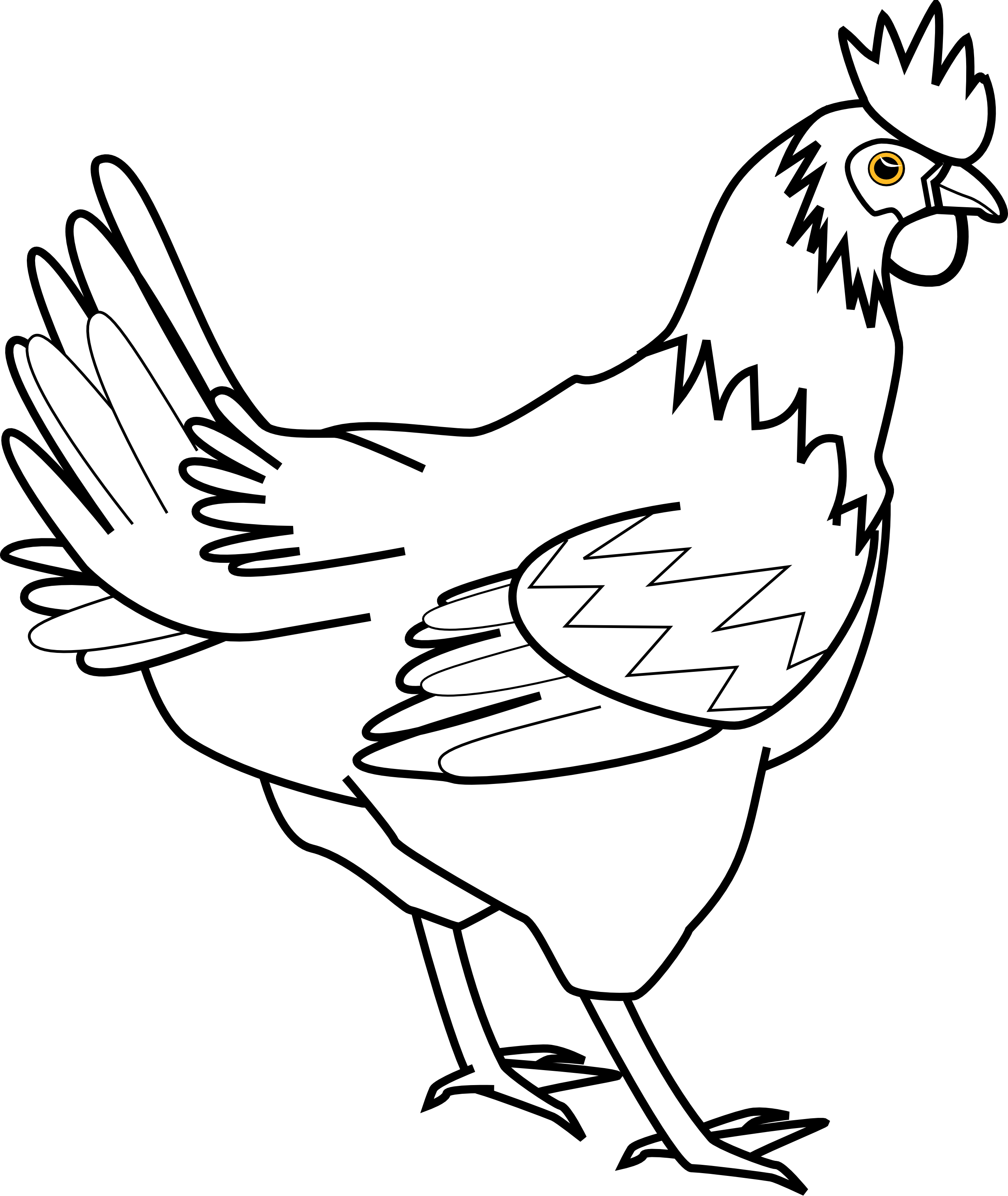 2555x3030 Chicken Clipart Black And White