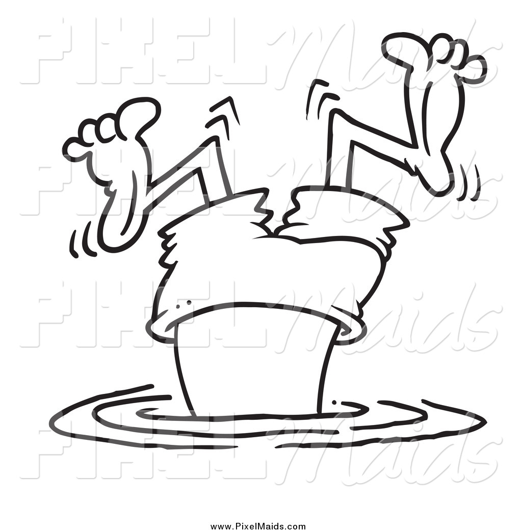 1024x1044 Clipart Of A Black And White Bad Diver Wiggling His Legs By