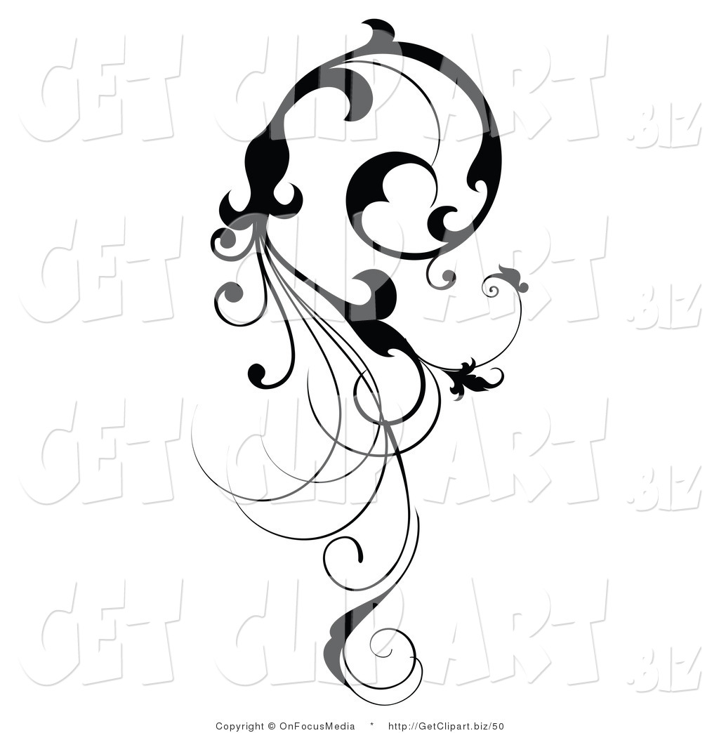 1024x1044 Vine Clipart Clip Art Of A Vertical Black Silhouetted Scroll Vine