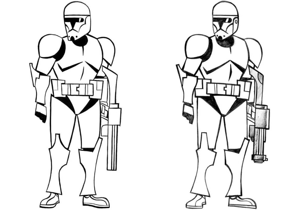 1024x724 Star Wars Characters Black And White Clipart Kid 2