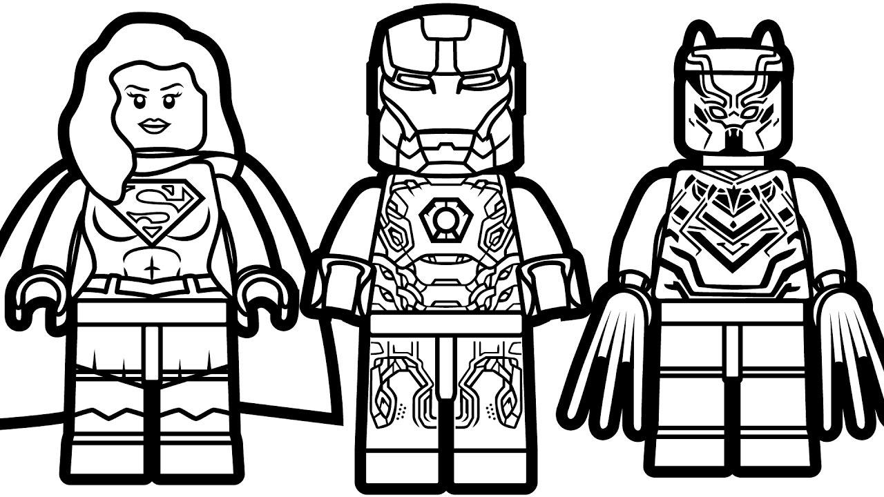 1280x720 Lego Iron Man Vs Lego Supergirl Vs Lego Black Panther Coloring