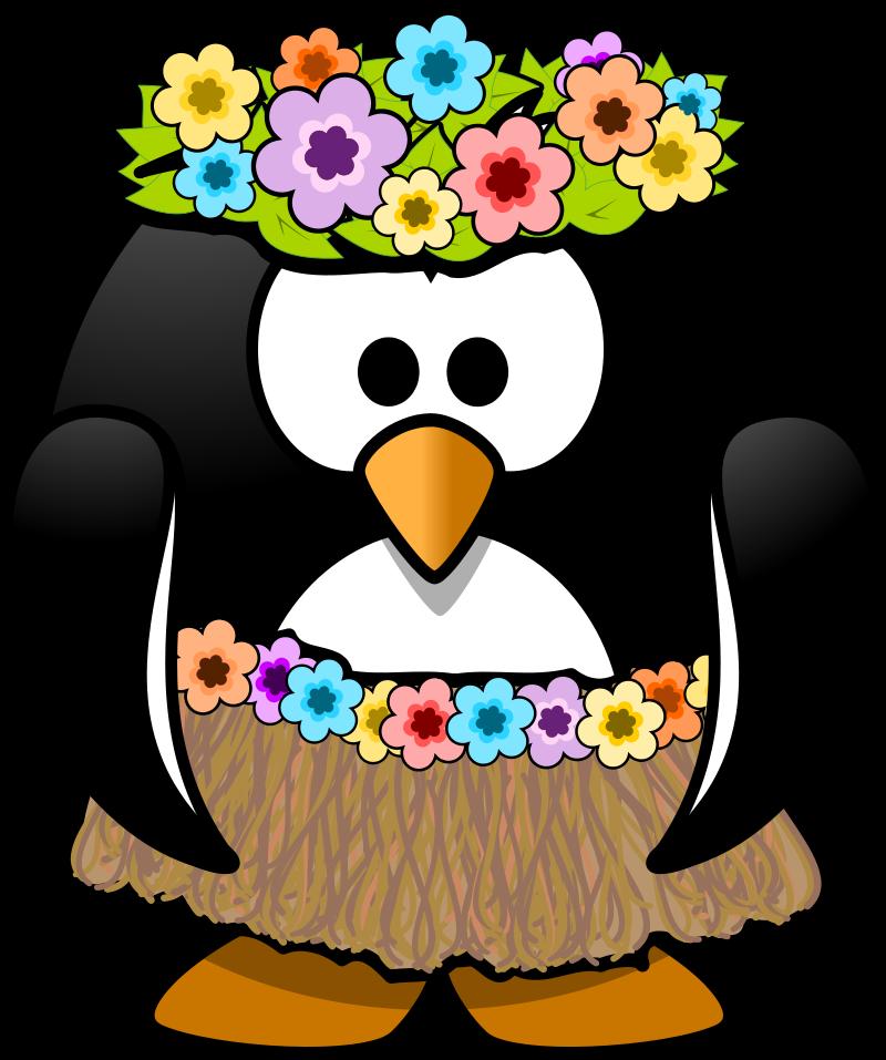 800x957 Penguin Hula Girl Clipart