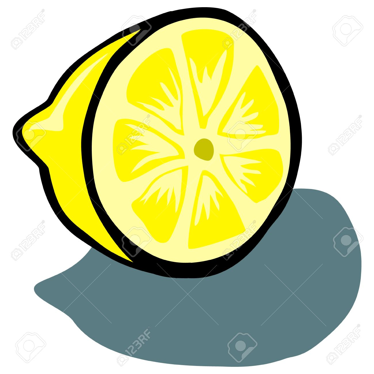 1300x1300 Cute Lemon Slice Vector Cartoon Royalty Free Cliparts, Vectors