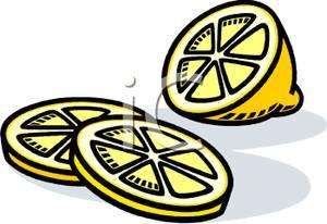 300x206 Lemon And Lemon Slices Clip Art Image