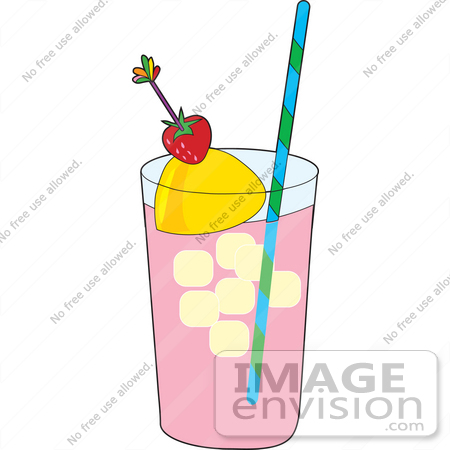 450x450 Clipart Of A Glass Of Strawberry Lemonade With Ice Cubes, A Wedge