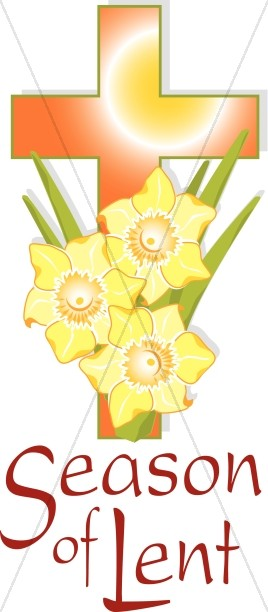 268x612 Orange Cross And Yellow Flowers For Lent Lent Word Art