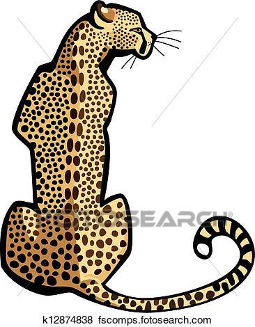 366x470 Clip Art Of Sitting Cheetah K12874838