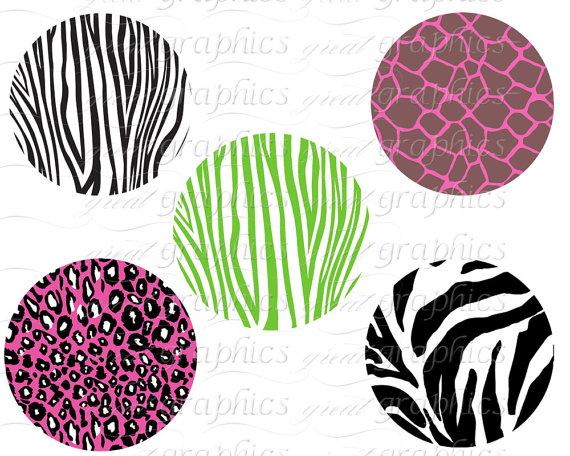 570x456 Animal Print Circle Clip Art Digital Clipart Circle Tags Set