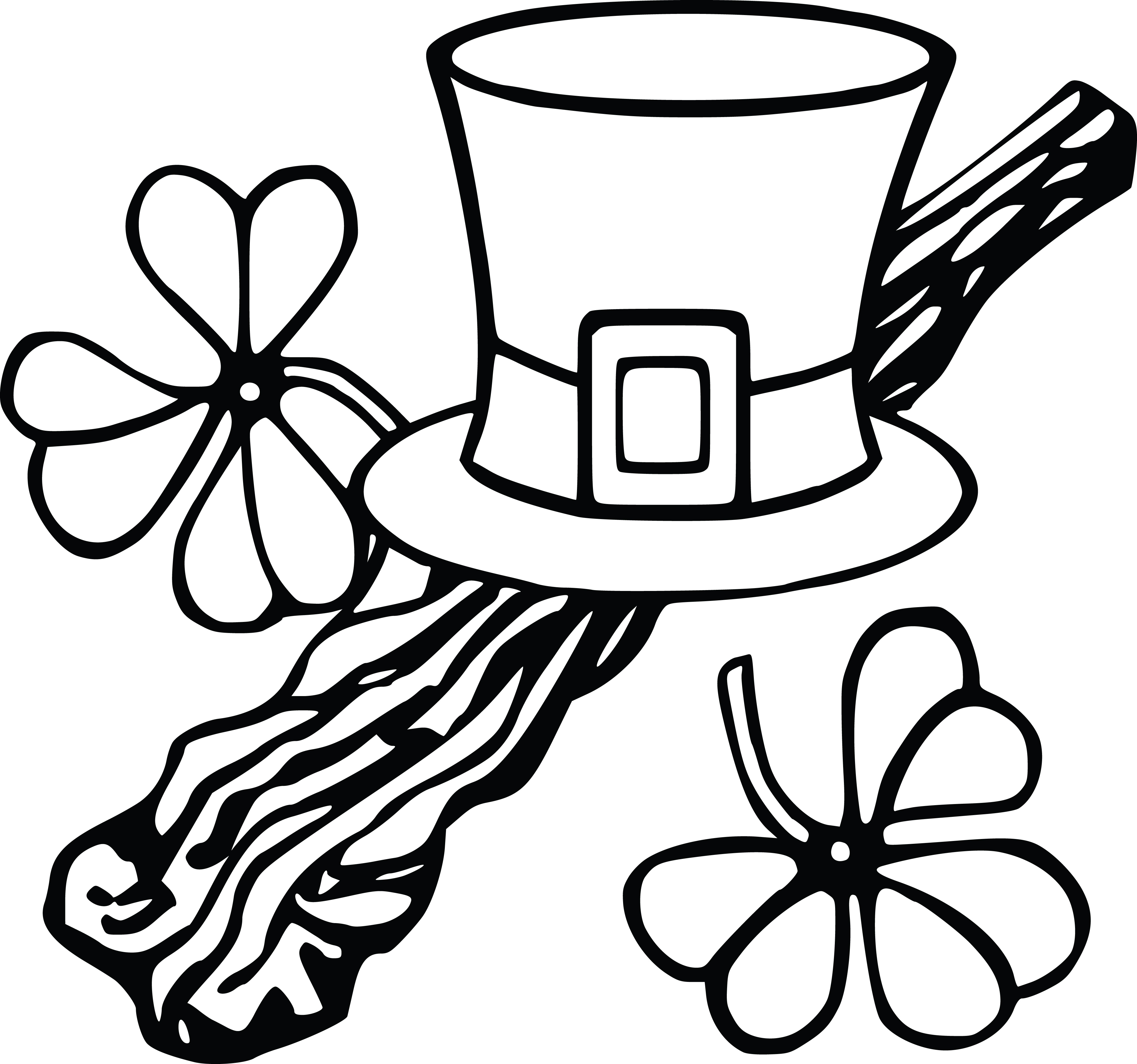 4000x3745 Clipart Of A Leprechan Hat And Shamrocks, Black And White Coloring