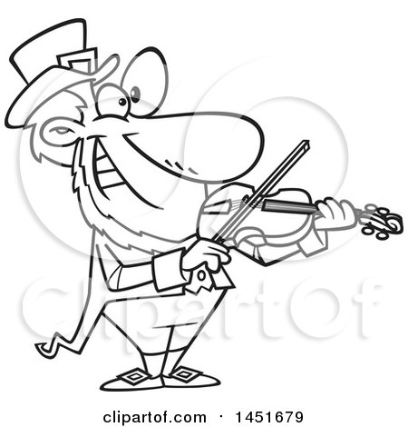 450x470 Clipart Graphic Of A Cartoon Black And White Lineart Leprechaun