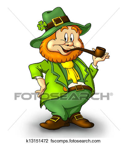 414x470 Clip Art Of Cartoonishleprechaun With A Smoking Pipe. A Lucky