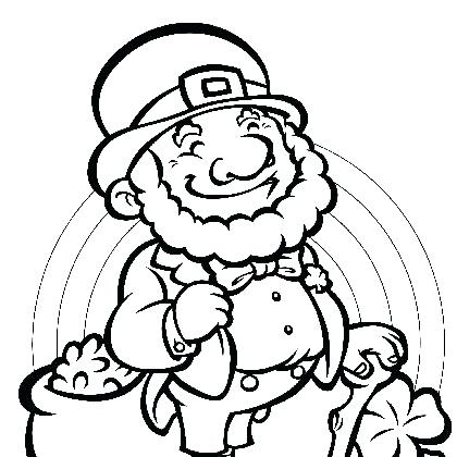 420x420 Leprechaun Playing With Four Leaf Clovers On St Day Coloring Page