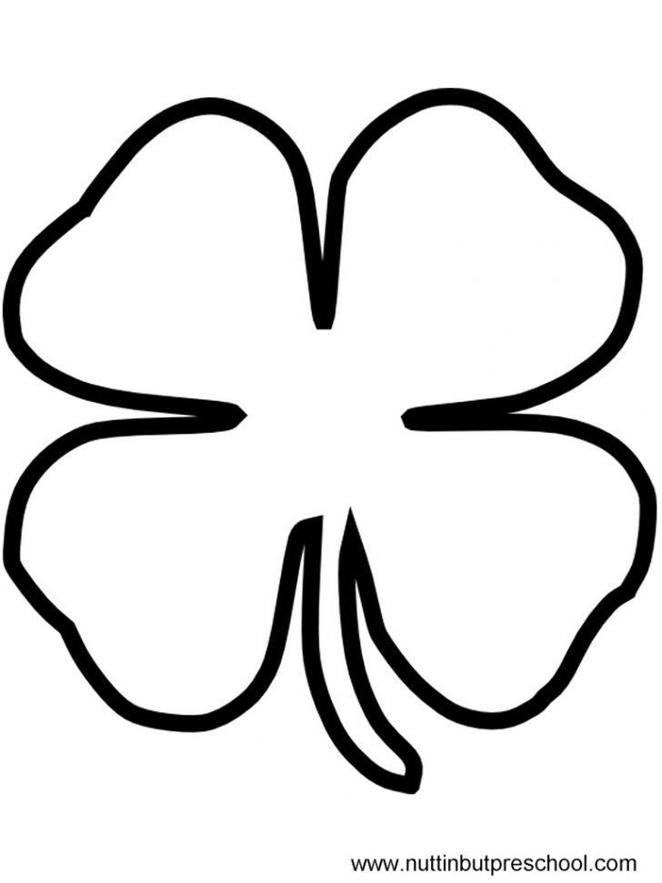 728x971 Clipart Of A Black And White Lineart Coloring Page Shamrock Clover