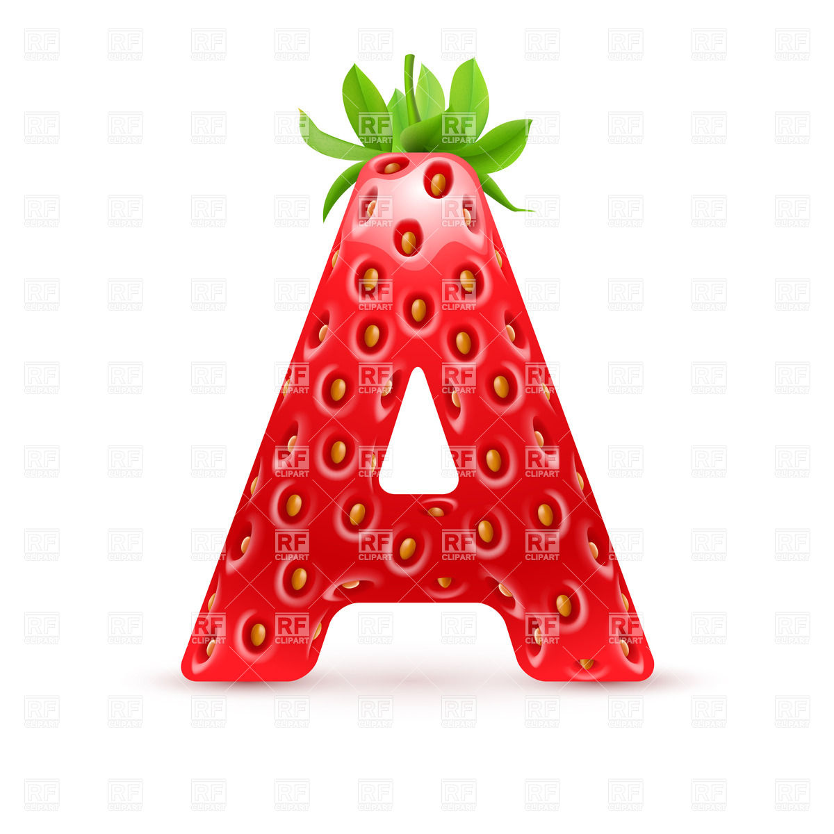 1200x1200 Strawberry Style Font, Letter A Royalty Free Vector Clip Art Image