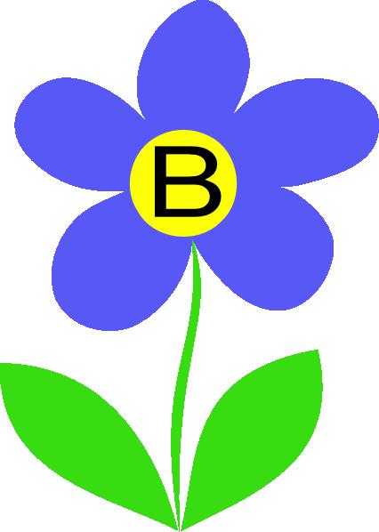 426x598 Blue Flower Letter B Clip Art