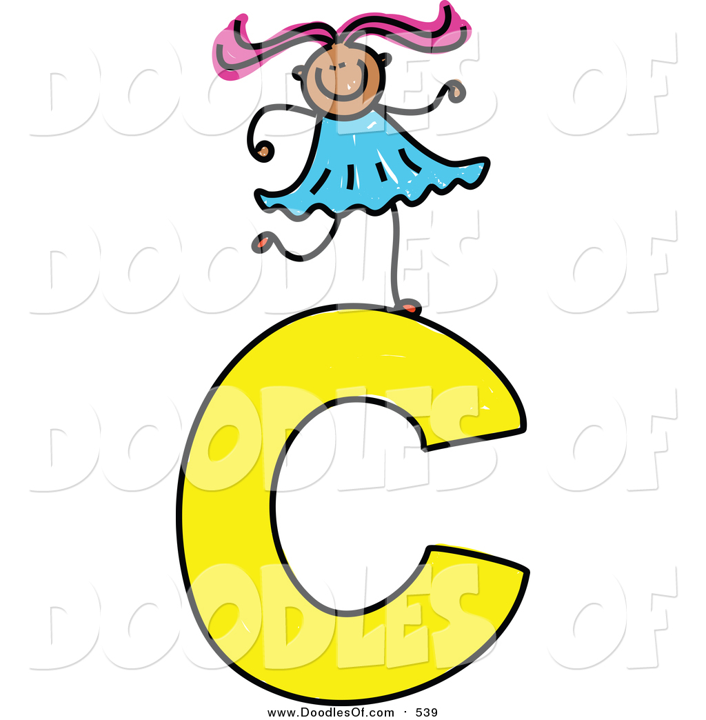 1024x1044 Vector Clipart Of A Doodled Girl On A Capital Letter C By Prawny