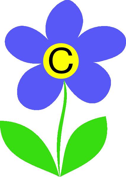 426x598 Blue Flower Letter C Clip Art