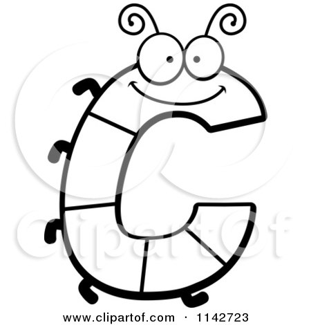450x470 Cartoon Clipart Of A Black And White Letter C Bug