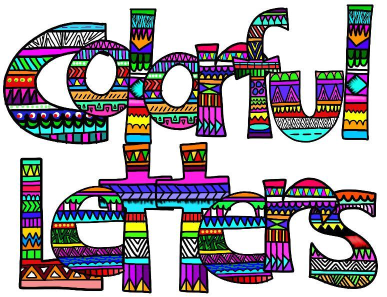 774x594 Clip Art Collaborators Colorful Aztec Print Letters Grades 3