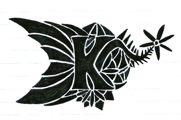736x491 Letter K Designs Goth Letter K By Dragonrider15 Letter K Tattoo