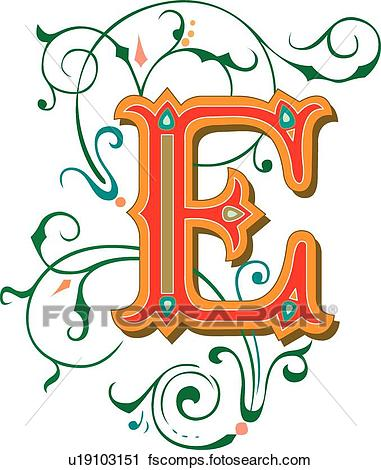 381x470 Clipart Of Tuscani Letter E U19103151
