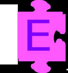 282x300 Letter E Inside Puzzle Piece Clip Art