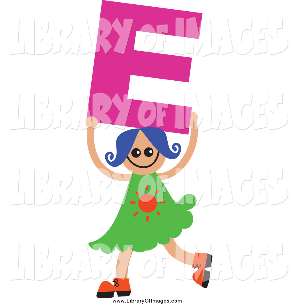 1024x1044 Clip Art Of A Blue Haired White Girl Holding Up A Letter E By