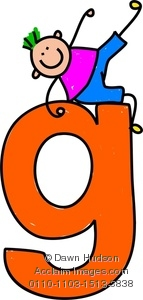 143x300 Clipart Image Of A Happy Little Boy Climbing Over A Giant Letter G