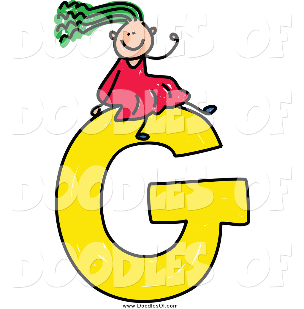 1024x1044 Vector Clipart Of A Green Haired Doodled Girl Waving On A Capital