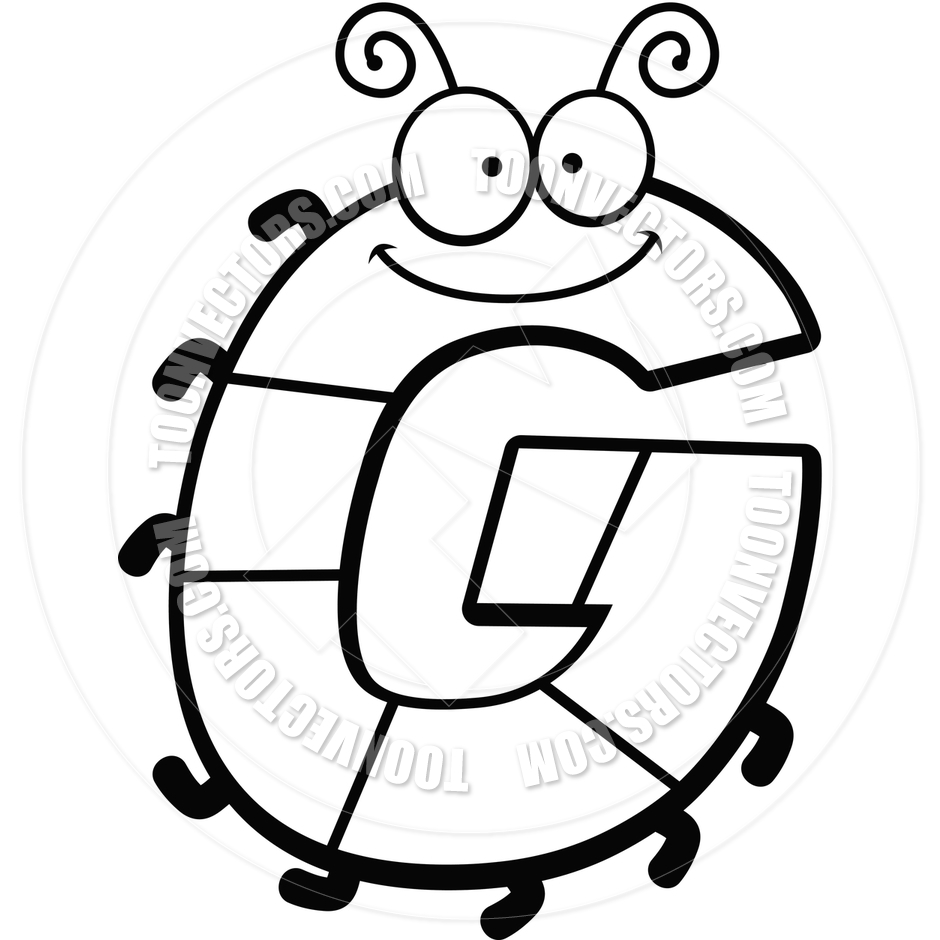 940x940 Cartoon Letter G Bug (Black And White Line Art) By Cory Thoman