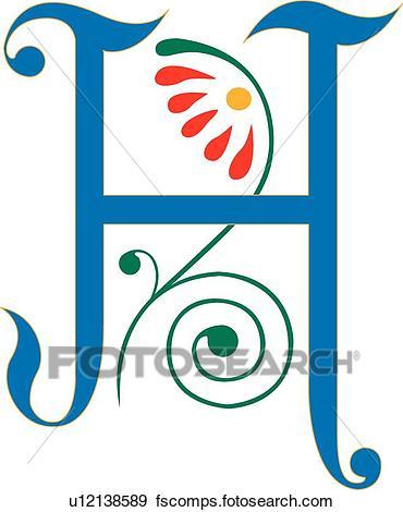 370x470 Clip Art Of Letter H U12138589
