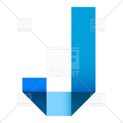 400x400 Bright Letter J Folded Of Paper Ribbon Colour Royalty Free Vector