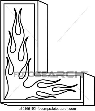 402x470 Clipart Of , Alphabet, Capital, Flaming Block, Hand Lettered, L