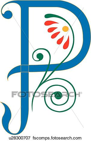 303x470 Clip Art Of Letter P U28300707
