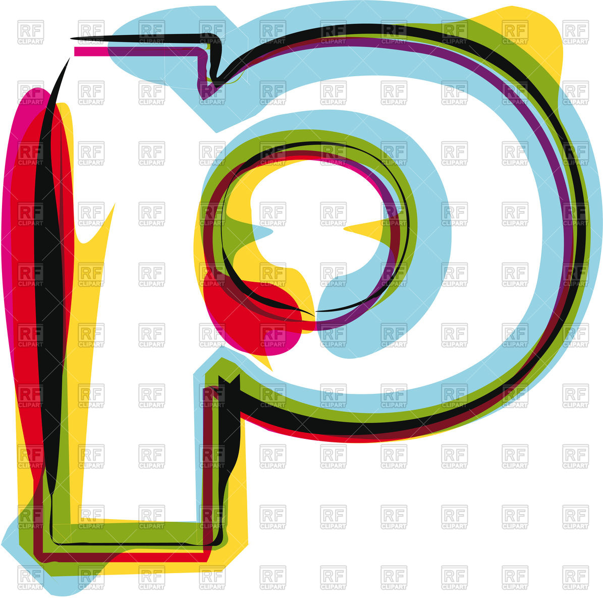 1195x1200 Abstract Colorful Letter P Royalty Free Vector Clip Art Image