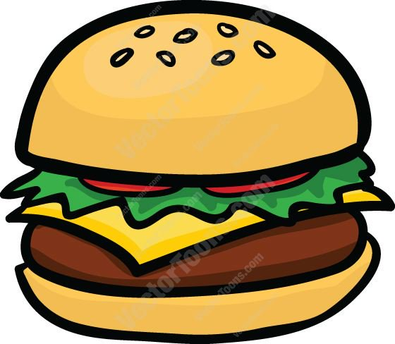 560x488 Cheeseburger With Lettuce And Tomato Cartoon Clipart
