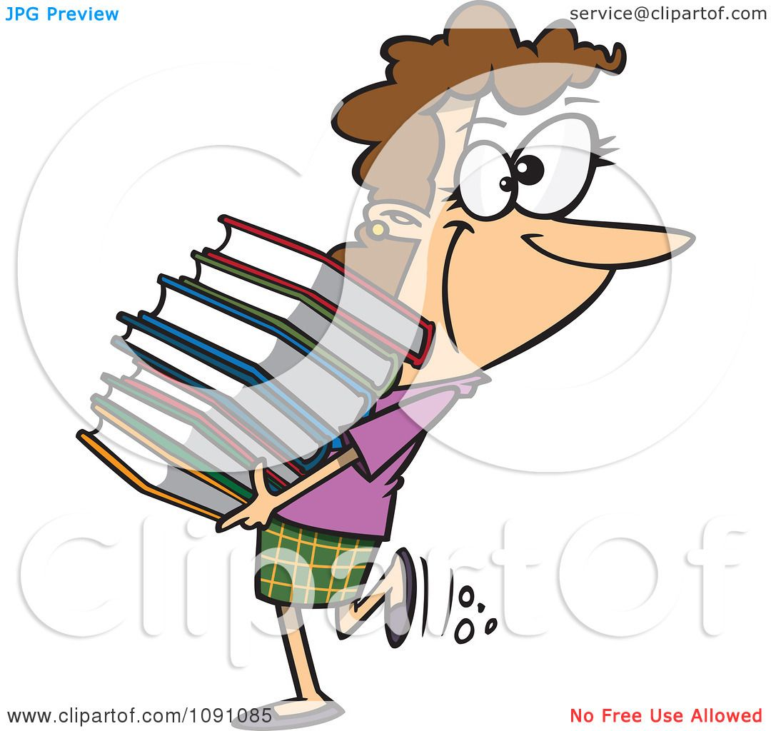 1080x1024 Clipart Librarian Or Heavy Reader Carrying A Large Stack Of Books