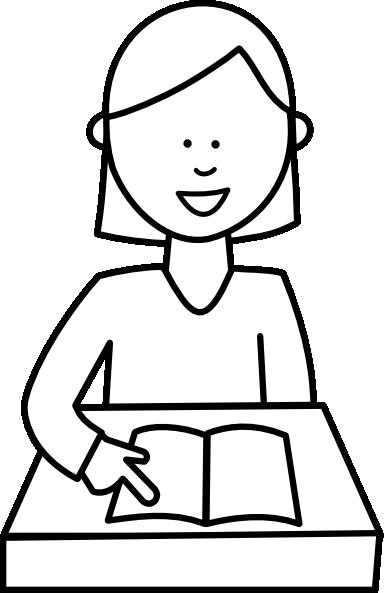 384x593 Children Reading Clip Art Black And White