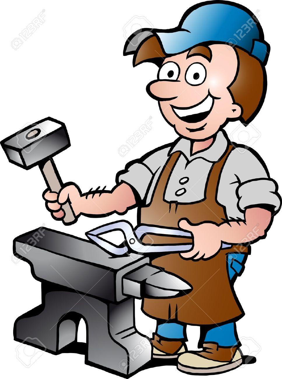 967x1300 17901074 Hand Drawn Vector Illustration Of An Happy Blacksmith