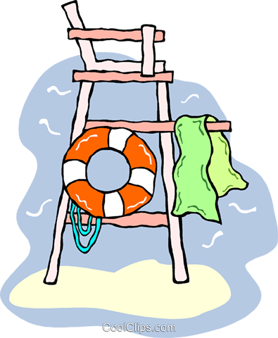 395x480 Lifeguard Tower With Life Preserver Royalty Free Vector Clip Art