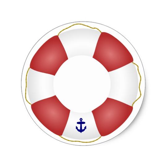540x540 Nautical Life Preserver Classic Round Sticker