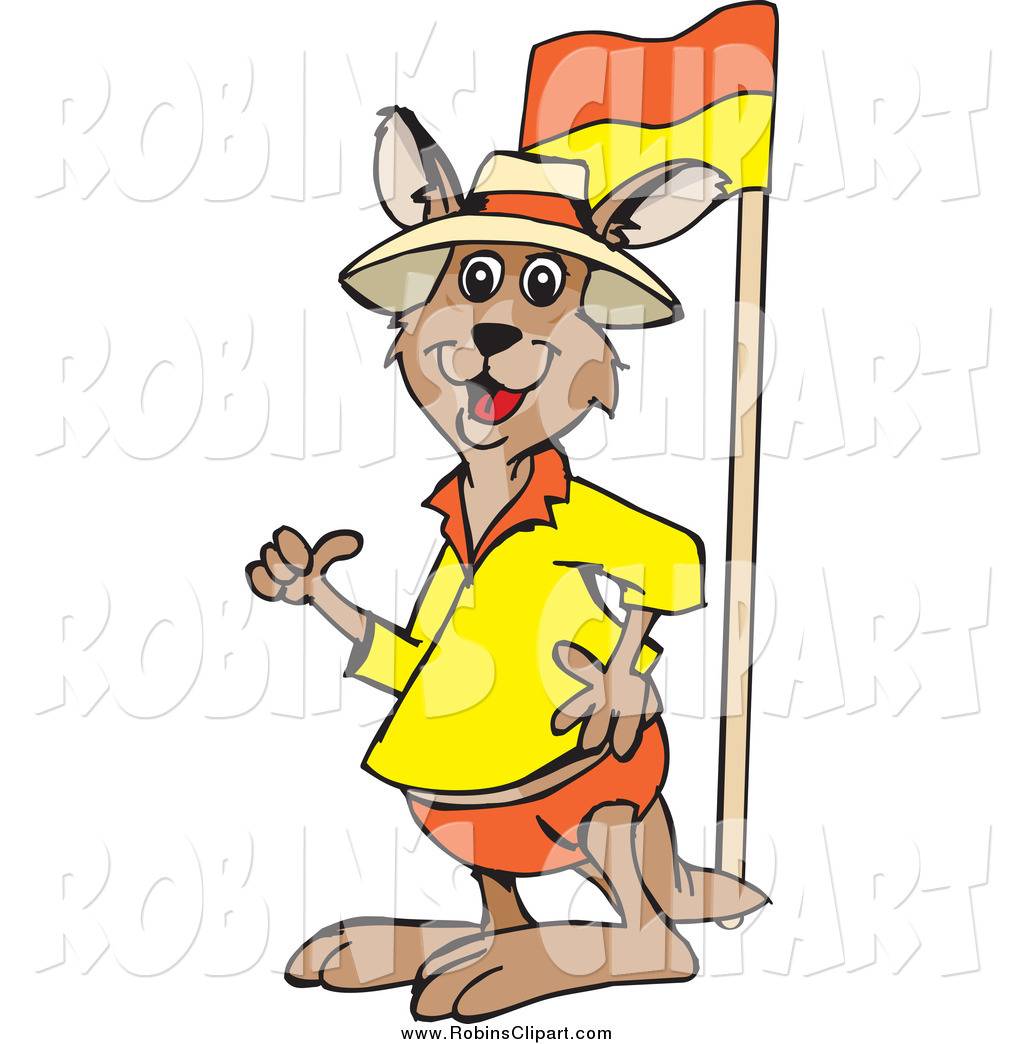 1024x1044 Clip Art Of A Kangaroo Giving A Thumb Up By A Lifeguard Flag By
