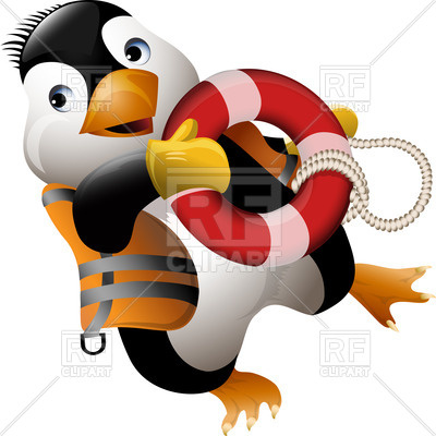 400x400 Funny Penguin Lifeguard