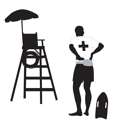416x416 Lifeguard Black And White Clipart