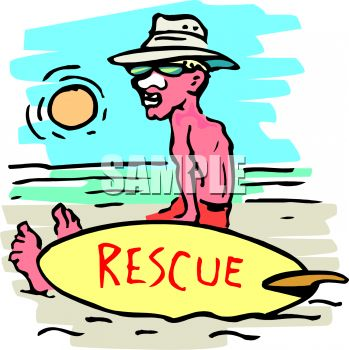 349x350 Cartoon Of A Lifeguard Sitting On The Beach With Zinc On His Nose