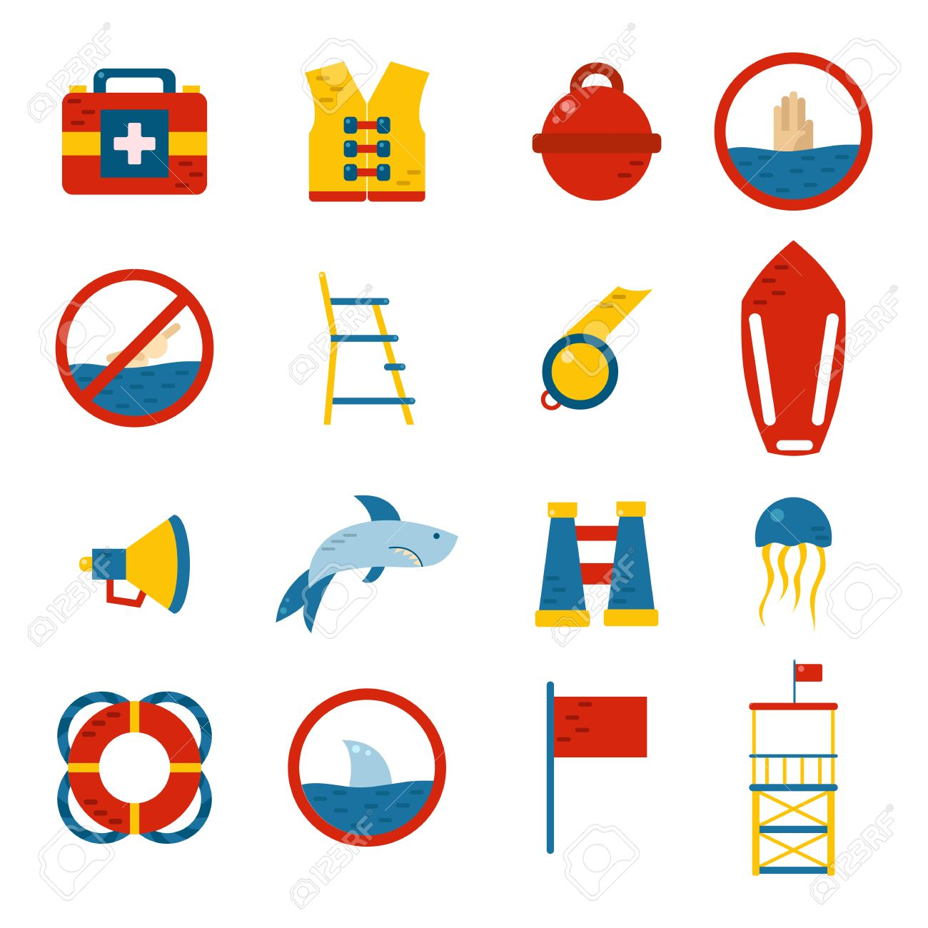 1300x1300 Vector Flat Cartoon Beach Lifeguard Beach Objects Buoy, Shark